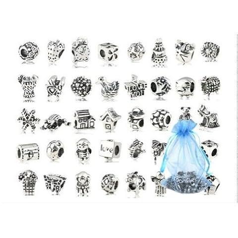 Luxbon 10 Pcs Cuentas Abalorios de Plata Accesorios DIY Decoración para Pulseras Collar Joyas