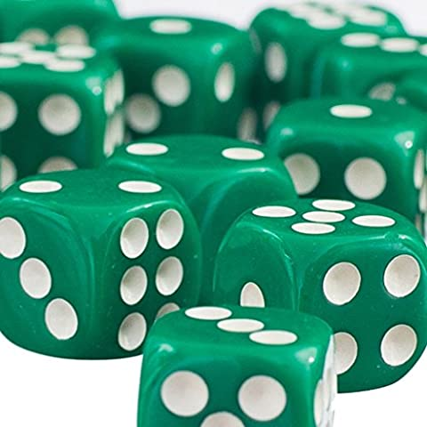 50pcs / Set Juguetes Educativos Matemáticas Dados 12mm Opacos Seis TRPG - Verde