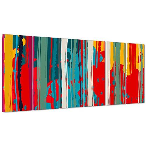 ConKrea - Bild auf Leinwand gerahmt - zum Aufhängen - Pollock - Kunstwerk - Abstrakte Kunst- 100 x 50 cm (Art. 3018) 190x70cm