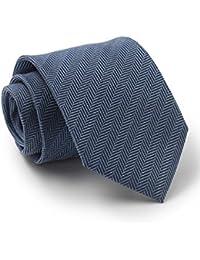 Savile Row Men's Blue Herringbone Silk Tie