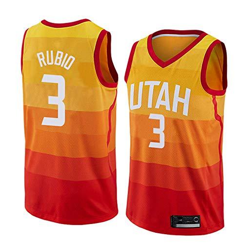 Herren Jersey-Rubio # 3 Utah Jazz Vintage Jersey, Cooles, Atmungsaktives Unisex Classic Ärmelloses Sport-T-Shirt,XXL:190cm/95~110kg -