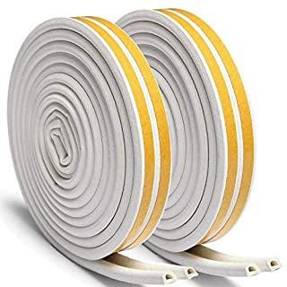 Window Seals 2 Rolls Sealing Strips. D-Profile Rubber Seal for Doors and Windows and Window Gaps Against Cold Draughts. Noise (Aibesser 16 Metres, White)