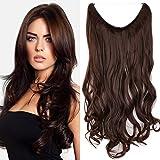 Haarteil Extensions 1 Tresse Haarverlängerung Synthetische Haare Haarverdichtung Gewellt 50cm-90g #M4 Mittelbraun