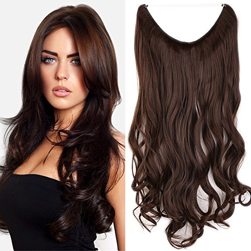 50cm extension capelli mossi pezzo unico con filo trasparente one piece wire in hair extensions 3/4 full head lunghi ondulati, marrone medio