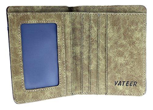Herren klassischer Vintage Bi-fold Canvas Kunstleder Doppelschicht Geldbörse Geldbeutel mit Kartenetui(115mm x 95mm x 10mm,B x H x T) Blau braun