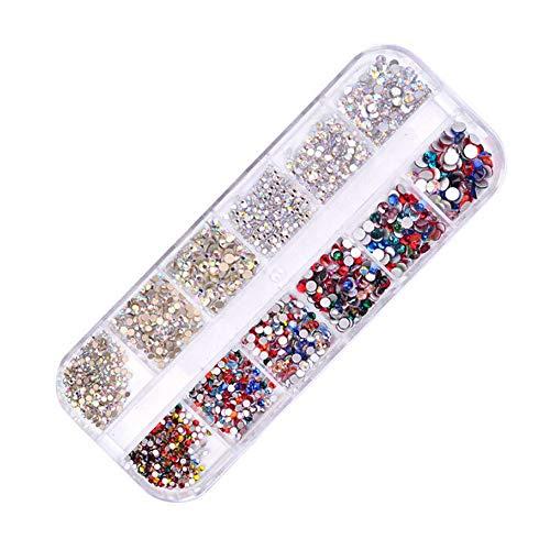 Xmansky Aplicaciones de estrás para decoración de uñas postizas, naturales o de gel, resistentes a los rayos UV, para colocar sobre el esmalte, uso profesional, 2 mm