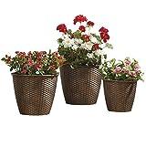 Rattan Effect Indoor Outdoor Garden Planters - 3 Sizes Plastic Plant Flower Pot Set (Brown)
