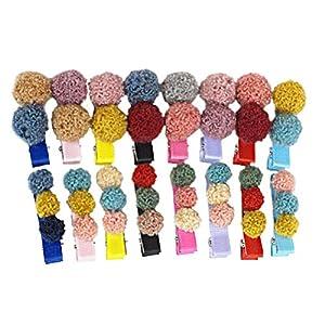 Lurrose Haarspange mit Plüschkugel, 2 Stück
