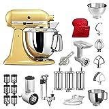 KitchenAid Küchenmaschine Artisan, 5KSM175PS, Bestseller Paket inkl. Gemüseschneider, Fleischwolf, Spiralschneider, Nudelvorsatz, Spritzgebäckvorsatz, Abdeckhaube und Standardzubehör (Pastellgelb)