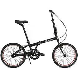 FabricBike Folding Bicicleta Plegable Cuadro Aluminio 3 Colores (Matte Black & Red)