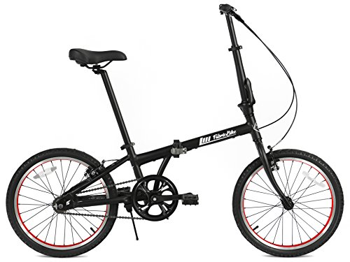 FabricBike Folding Bicicleta Plegable Cuadro Aluminio 3 Colores (Matte Black & Red)