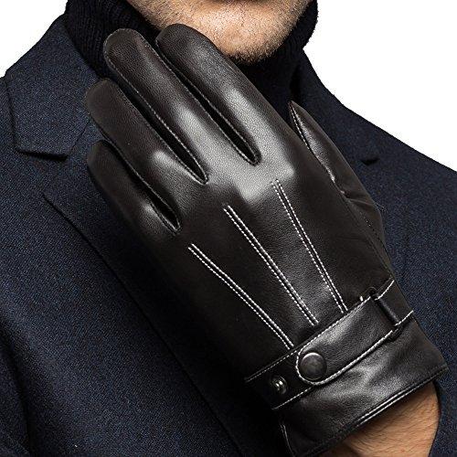 Harrms Herren Winter Handschuhe aus Echtem Leder Touch Screen Gefüttert aus Kaschmir Lederhandschuhe (Schwarz, L)(mit Geschenk Verpackung)