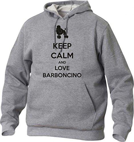 felpa con cappuccio Keep calm and love barboncino S M L XL XXL maglietta by tshirteria grigio