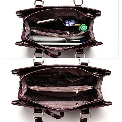 Damen Glänzend Koffer Dreiteilig Handtasche Umhängetasche Diagonalpaket Mode Temperament Hochwertig Blue