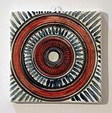 Geometrische Fliese - Handverzierte Keramikfliese, Größe 10,1x10,1x1 cm Made in Italy in der Toskana, Lucca Erstellt von Davide Pacini.