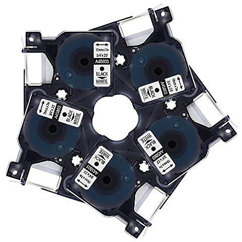 Markurlife 5x Schriftband für Dymo D1 45803 S0720830 Etikettenband 19mm x 7m Schwarz auf Weiß Kompatible mit DYMO LabelManager / DYMO LabelPoint / DYMO LabelWriter / 3M Originalen Etiketten Drucker