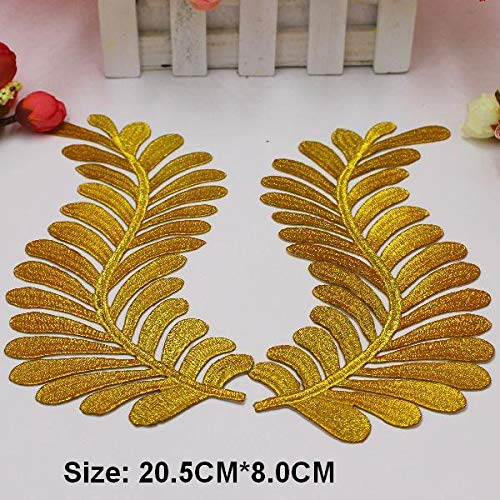 ld 3D Blume Patches Party Secoration 38 Stile Gold Stickerei Vintage Metallic Cosplay Kostüme DIY Trims 37-1 Paar, Gold ()