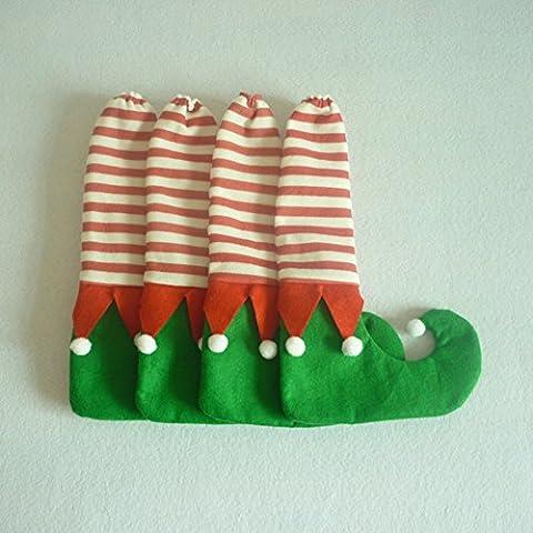 Zantec Table de Noël Père Noël Housses de chaise jambe Pieds Chaussures Pieds Funny Décorations de fête Creative Cadeau de Noël mignon 4pcs/lot Noir + Rouge