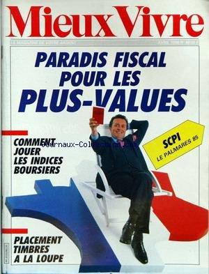 MIEUX VIVRE [No 80] du 01/04/1986 - PARADIS FISCAL POUR LES PLUS-VALUES - COMMENT JOUER LES INDICES BOURSIERS - PLACEMENT TIMBRES A LA LOUPE.