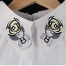 ChriStore - Nuevo 2016 bordado Beautiful Girl falso del collar La mitad de las mujeres camisa