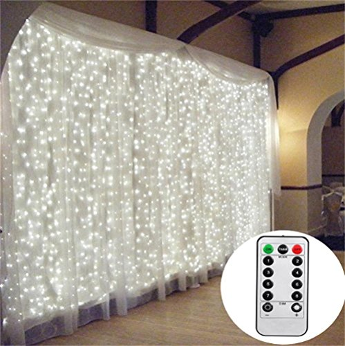 3M*3M/9.8ft*9.8ft Remote Control Curtain Lights LED String Fairy Light Window Icicle Backdrop Lights for Bedroom, Wedding, Party, Room, Garden Christmas (White)