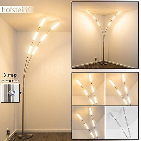 Lampe sur pied LED Motala de avec 3niveaux Variateur tactile–Lampe de sol en métal Nickel mat pour chambre–Salon–leuch tarme réglable