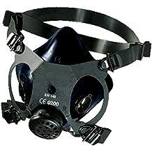 Máscara de Gases buconasal negra, Respirador Profesional Polivalente EN:140 de doble filtro.