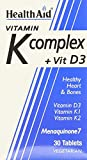 HealthAid Vitamin K Complex Plus Vit D3 New Menaquinone MK7 - Pack of 30 Tablets by HealthAid