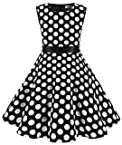 MUADRESS Girls Sleeveless O-Neck Audrey 1950s Vintage Swing Cocktial Party Dress Black Big White Dot M