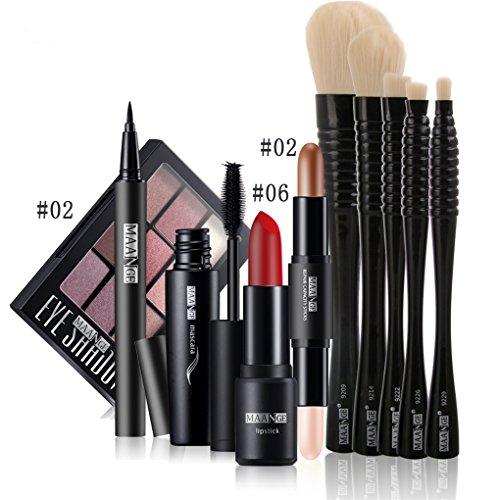 BrilliantDay 10Pcs Cosmetic Kit Lipstick Eyeliner Pen Mascara Surligneur Shimmer Stick Ombre à paupières Pinceau fond de teint Makeup Set#2