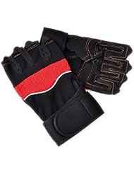 Longra Deporte al aire libre del levantamiento de pesas guantes sin dedos Formación (Rojo)