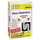 HG Duo-Rohrfrei, 2x 500 ml - Der Abflussreiniger für hartnäckige Verstopfungen im Abfluss Ihrer Küche, Ihres Spülbeckens oder des Badezimmers