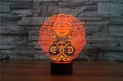 Xiujie Happy Character 3D Lampada Visual Light 7 Colos Usb Touch Lampada Da Tavolo Per Camera Da Letto Per La Decorazione Di Nozze Cinese