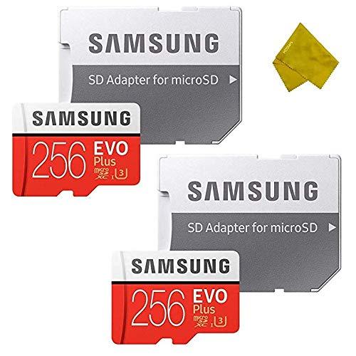 Samsung 256 GB EVO+ microSDXC-Speicherkarte mit SD-Adapter für Smartphone und Action-Kamera, 2 Stück Camo-video-kameras