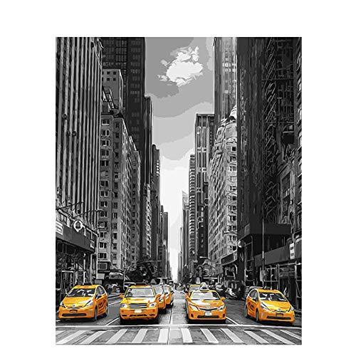 Ccoilpainting DIY Digitale MalereiNew York City Auto Himmel Erwachsene Farbe Kinder Anfänger Dekoration Handgemaltes Bild Geschenk Kunstwerk-A-Rahmen (New York City, Party Supplies)