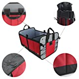 COFIT Foldable Boot Organizer with Waterproof Bottom for Vehicle, Picnic, Home and Shopping - Red and Black