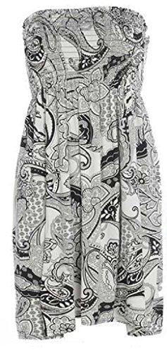 Dames Été Boobtube Bandeau Robe Courte Sans Bretelles Taille 36-50 Noir Paisley