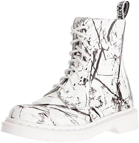 Dr. Martens Pascal Mrbl Black Patent Marble 21442071, Boots Blanc