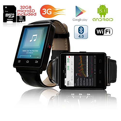 Indigi® GSM entsperrt. Stilvolle Android 5.1Smart Watch Phone GSM 3G + WiFi GPS + Herzfrequenz + Temperatur + Bluetooth Bundle Unlocked Gsm Touchscreen