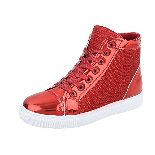 Sneakers High Damen-Schuhe Sneakers High Sneakers Schnürsenkel Ital-Design Freizeitschuhe Rot, Gr 39, D02-
