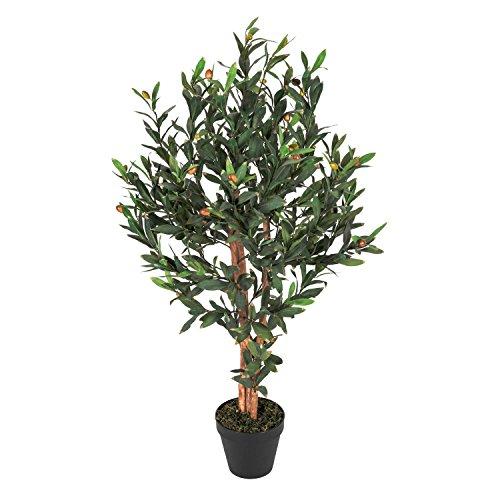 Homescapes Kunstbaum Kunstpflanze Grün Immergrüner Olivenbaum 90 cm Hoch