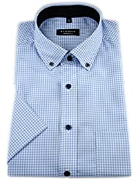 eterna Herren Kurzarm Hemd Comfort Fit Vichy Popeline  Modern-Button-Down-Kragen blau 5853e03018