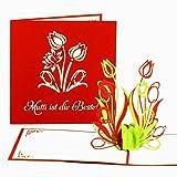 """Muttertagskarte """"Mutti ist die Beste"""" - 3D Pop-Up Karte - Muttertagskarten als kleines Geschenk & Geschenkgutschein - 3D Karte zum Muttertag"""
