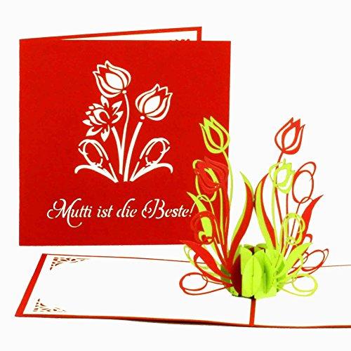 """Muttertagskarte \""""Mutti ist die Beste\"""" - 3D Pop-Up Karte - Muttertagskarten als kleines Geschenk & Geschenkgutschein - 3D Karte zum Muttertag"""