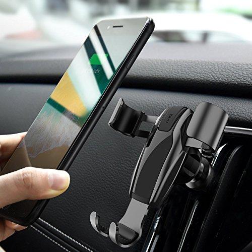 Handyhalterung Auto, DIVI Air Vent Schwerkraft Linkage Autotelefonhalterung Autohalterung Auto Handy Halter KFZ Halterung Autotelefonhalter 360 Grad drehbar Universal kompatibel mit iPhone 8Plus / 7Plus / 6s / 6P / 5S, Samsungs-Galaxie S5 / S6 / S7 / S8 (Schwarz)