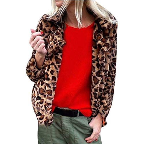 elzmantel Damen Casual Mode Winter Warm Jacke Parka Oberbekleidung Frauen Winter Leopard Printed Faux Pelz Langarm Strickjacke Jacke Outwear Mantel Herbst Winter ()