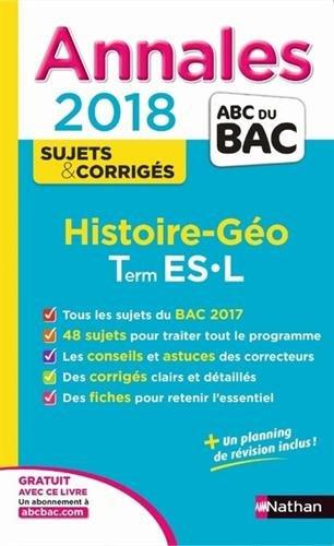 Histoire géo terminale ES, L : annales 2018