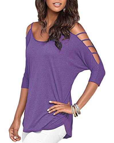 Smile YKK Top Femme Chic T-shirt Chemise Blouse Epaule Nue Manches Courtes Casual Soirée Elégant Violet