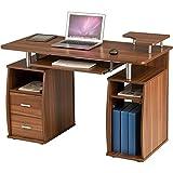 Piranha Trading Escritorio Mesa de Ordenador Despacho con Estantes, Armario y Cajones para la Oficina en Casa Efecto Nogal Oscuro PC 5n