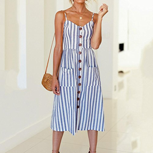 DIKEWANG Ladies Summer Beach Buttons Party Dress Newest Fashion Trend Womens Holiday Striped Ladies Summer Beach Buttons Party Dress